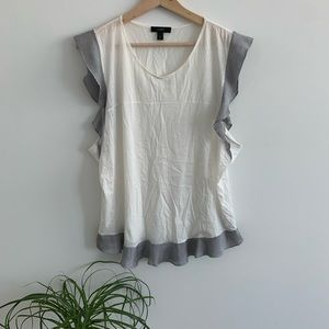 J. Crew - White Top with Stripped Ruffles